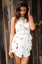Hollow Out Floral Print Romper