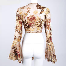 Flare Sleeve Floral Tie Up Crop (2 colors)