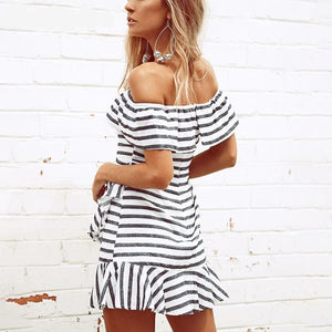 Off Shoulder Stripe or Check Dress (2 patterns)