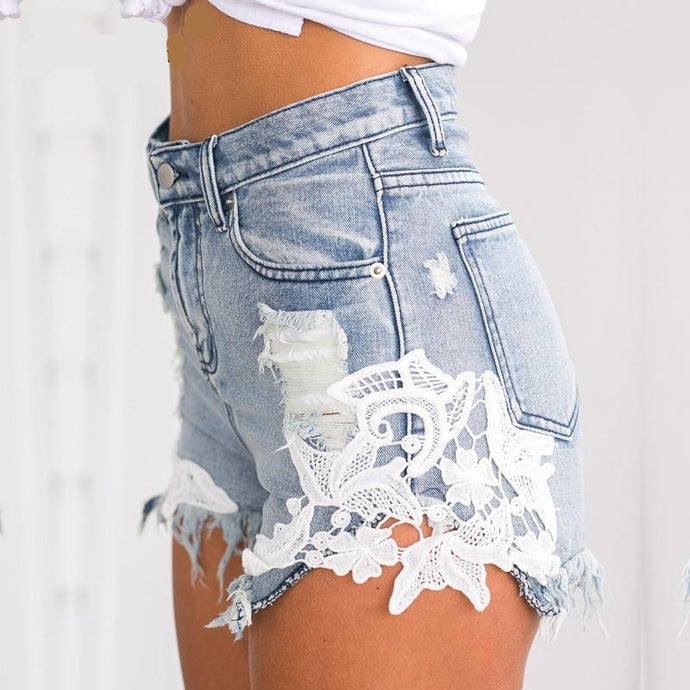 Lace Patchwork Ripped Denim Shorts (3 colors)