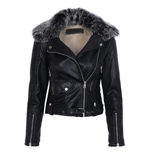 Faux Fur Collar Leather Moto Jacket