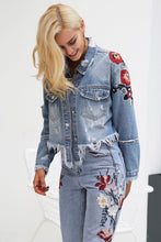 Floral Embroidery Distressed Denim Jacket