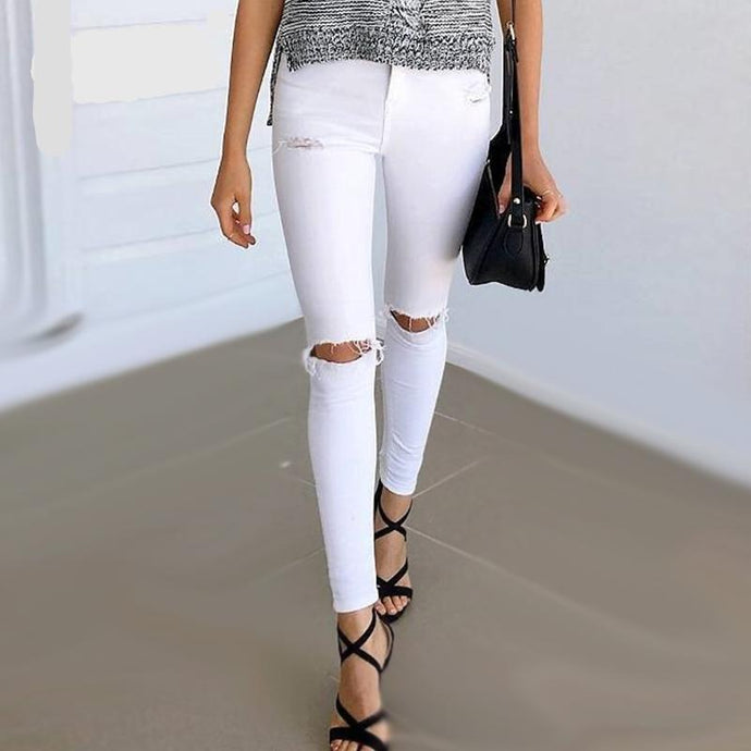 White or Black Denim Ripped Stretch Jeans (2 colors)
