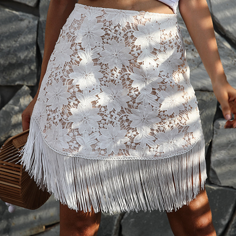 Elegant Embroidery High Waist Skirt