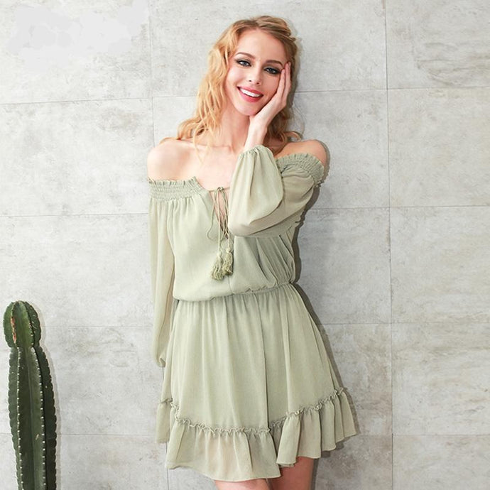 Ruffled Off Shoulder Lantern Sleeve Dress