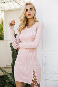 Lace Up Knit Sweater Dress