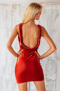 Backless Twist Velvet Dress