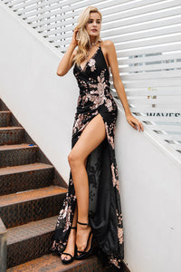 High Split Floral Halter Dress