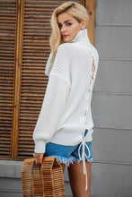 Lace Up Knit Turtleneck Sweater