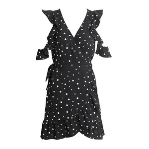 Ruffled Cold Shoulder Polka Dot Summer Dress (2 colors)