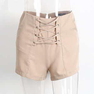 Cross Lace Up High Waist Shorts (2 colors)