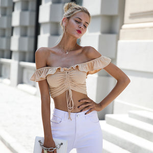 Ruffle Off Shoulder Crop Top (4 colors)