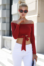 Off Shoulder Tie Up Crop Top
