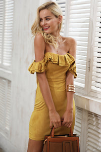 Ruffle Suede Backless Dress
