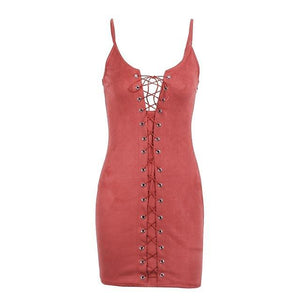 Lace Up Suede Bodycon (5 colors)