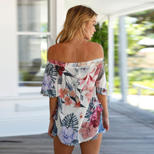 Off Shoulder Chiffon Floral Blouse