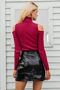 Berry Knit Turtle Neck Top
