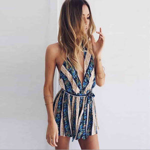 Deep V Neck Floral Playsuit