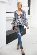 Ruffle V Neck Striped Blouse (3 colors)