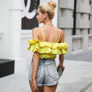 Backless Ruffle Off Shoulder Tank (3 colors)
