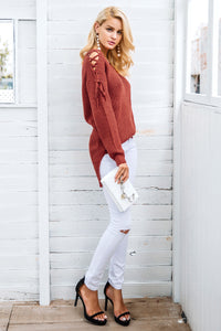 Lace Up Knit Sweater