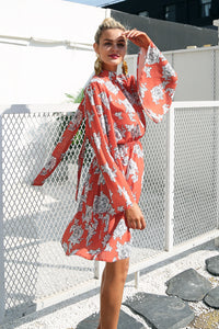Flare Sleeve Backless Floral Dress