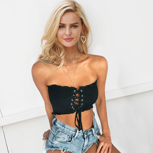 Lace Up Strapless Tank Top