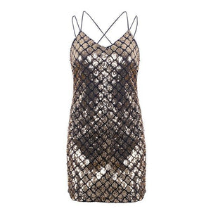 Backless Sequined Mini Dress (2 colors)