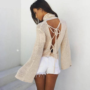 Lace Up Flare Sleeve Pullover