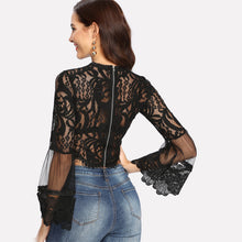 Lace Flare Sleeve Crop Blouse