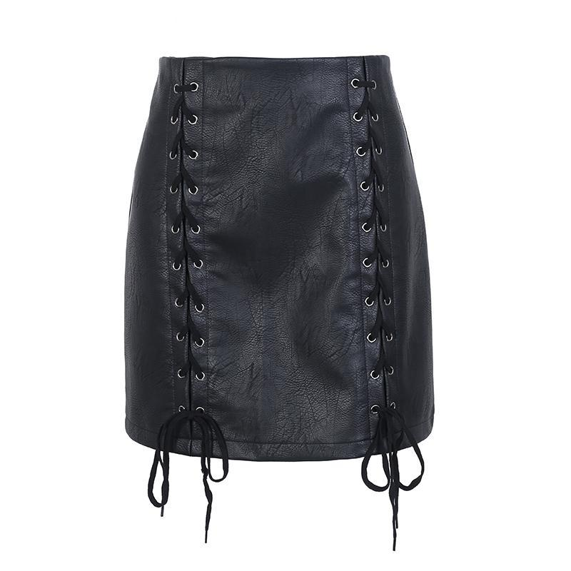 Lace Up Leather Skirt