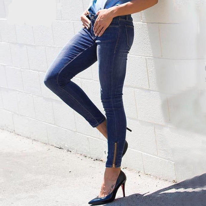 High Waist Zipper Accent Skinny Jeans (2 colors)
