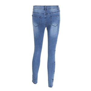 Star Embroidery Skinny Jeans
