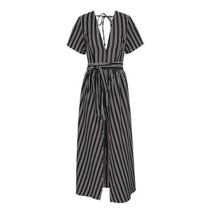 Boho Style or Striped Backless Playsuit