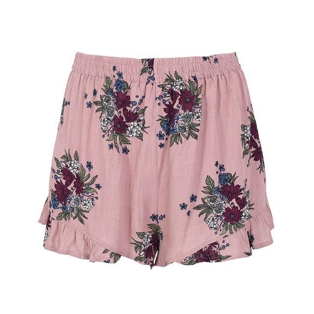 Pleated Floral Print Shorts (3 colors)