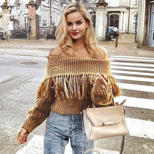 Off Shoulder Fringe Knit Sweater