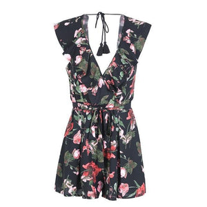 Backless Deep V Floral Print Romper (2 colors)