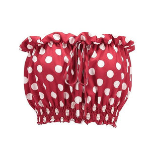 Strapless Polka Dot Crop Top