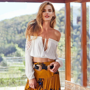 Lace Up Off Shoulder Crop Top (2 colors)