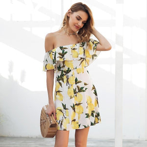 Ruffled Off Shoulder Summer Dress (2 colors/patterns)