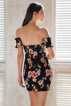 Floral Off Shoulder Lace Up Bodycon (2 colors)