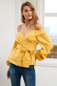 Off Shoulder Ruffled Lantern Sleeve Blouse (2 colors)