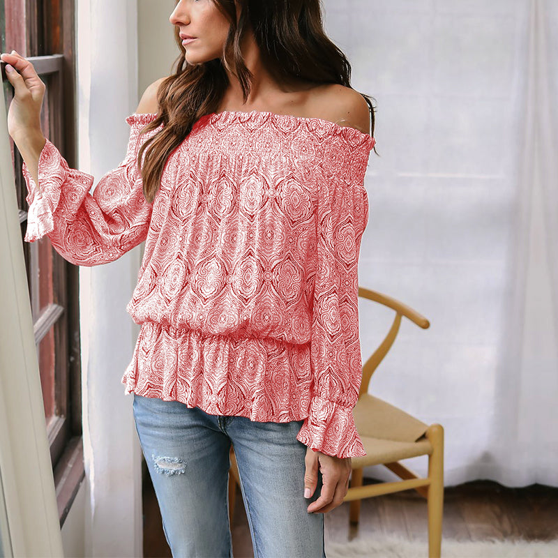 Off Shoulder Ruffled Tie Up Blouse (2 colors)