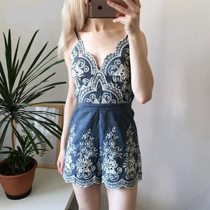 Floral Embroidery V Neck  Romper