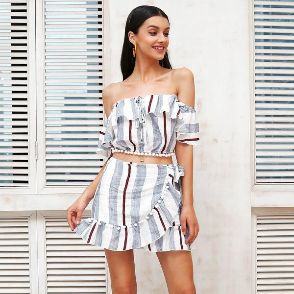 Off Shoulder Ruffled Two Piece Dress