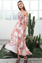 Strapless Floral Print Maxi Dress
