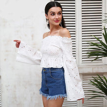 Off Shoulder Embroidered Flare Sleeve Top