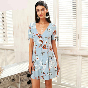 V Neck Floral Summer Dress