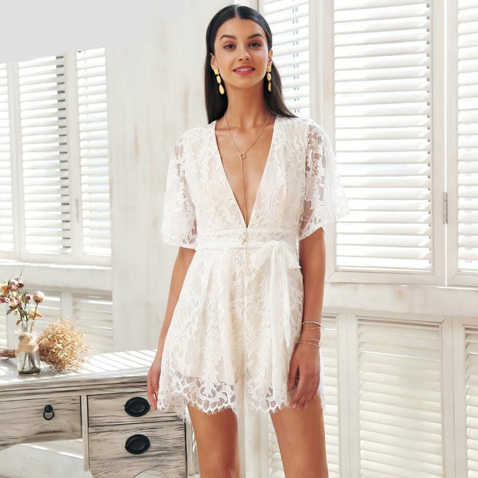 Deep V Lace Hollow Out Romper