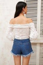 Off Shoulder Lace Tie Up Blouse